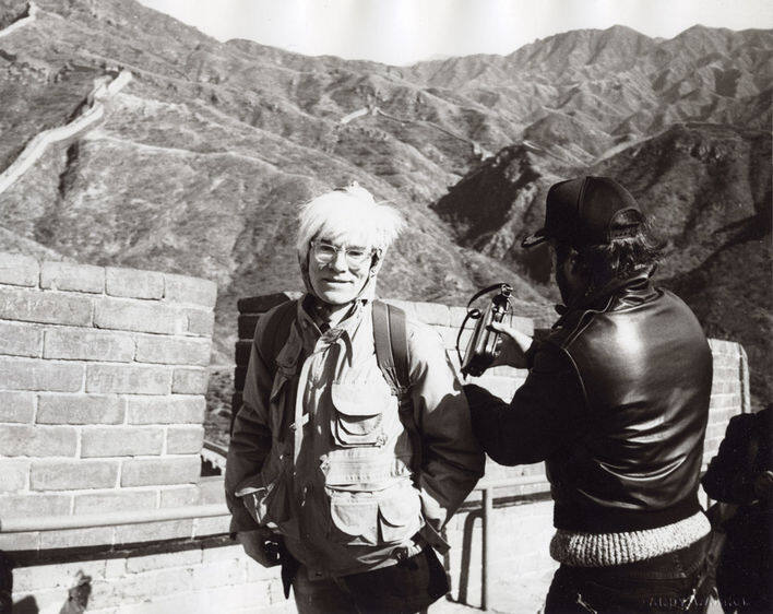 <p>Andy Warhol at the Great Wall, 1982</p>