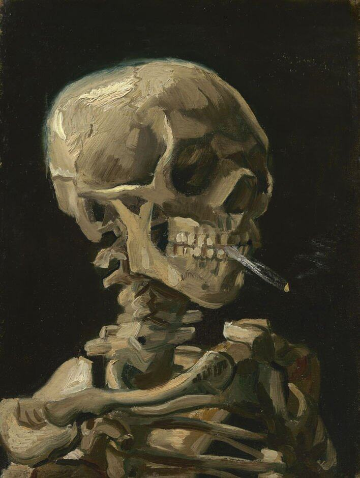 《Head of a skeleton with a burning cigarette》Vincent van Gogh