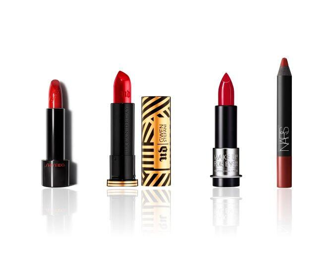 <p> Shiseido SMK Rouge Rouge (#RD312 Poppy) $240<br /> Urban Decay Gwen Stefani Gwen Stefani Lipstick $170<br /> Make Up For Ever Artist Rouge (#C404) $190<br />Nars Fall Infatuated Red Velvet Matte Lip Pencil $230</p>