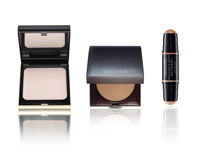 <p> Kevyn Aucoin The Guardian Angel Cream Highlighter (#Halo) $450<br /> Laura Mercier Matte Radiance Baked Powder (#2) $330<br />Diorblush Light &amp; Contour $400</p>