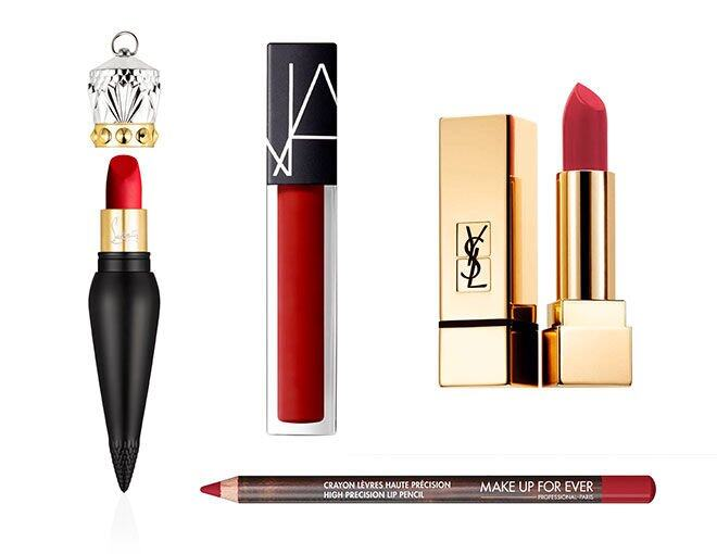 <p> NARS Velvet Lip Glide (#Le Palace) $240<br /> Christian Louboutin Velvet Matte $800<br /> YSL Rouge Pur Couture The Mats N216 $295<br />Make Up For Ever High Precision Lip Pencil (#40) $120</p>