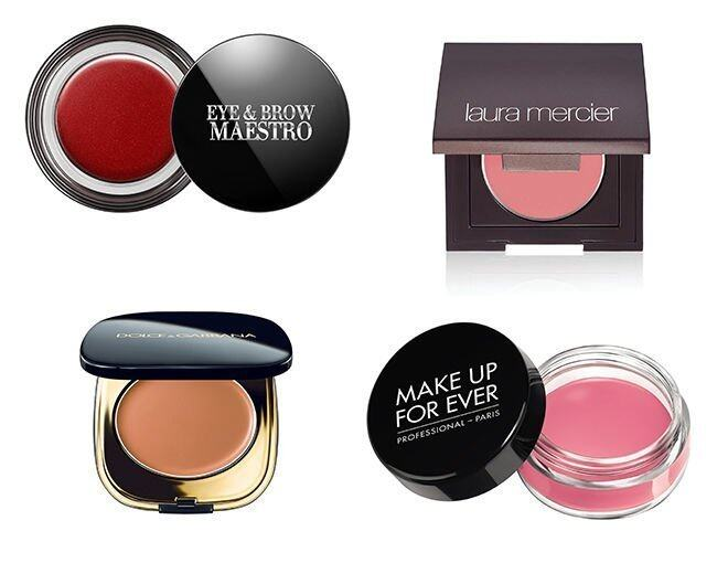 <p> Giorgio Armani Eye & Brow Maestro $260<br /> Laura Mercier Creme Cheek Color $200<br /> Dolce & Gabbana Creamy Face Colour $425<br />Make Up For Ever Aqua Cream $260</p>