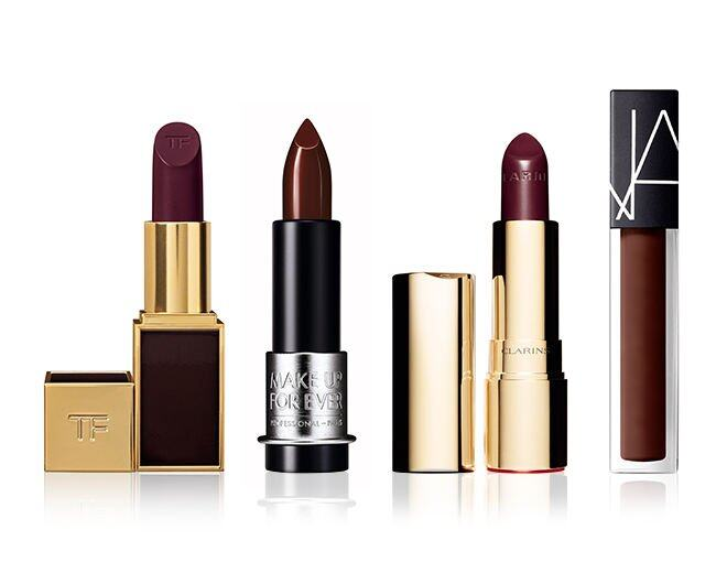 <p> Make Up For Ever Artist Rouge (C407) $190<br /> Clarins Joli Rouge (Royal Plum) $220<br /> Nars Velvet Lip Glide (Area) $240<br />Tom Ford Lip Color (Bruised Plum) $240</p>