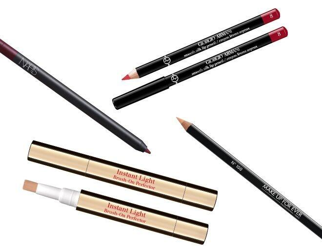 <p> Giorgio Armani Smooth Silk Lip Pencil (#08) $180<br /> Nars Velvet Lip Liner (Belle Mare) $210<br /> Make Up For Ever Concealer Lip Liner $150<br />Clarins Instant Light Brush-On Perfector $250</p>