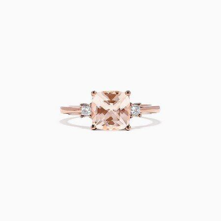 Effy Blush 14K Rose Gold Morganite and Diamond Ring, 1.71 TCW