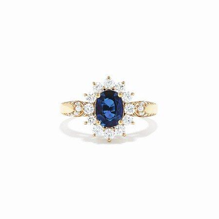 Effy Royale Bleu 14K Yellow Gold Blue Sapphire and Diamond Ring, 2.23 TCW