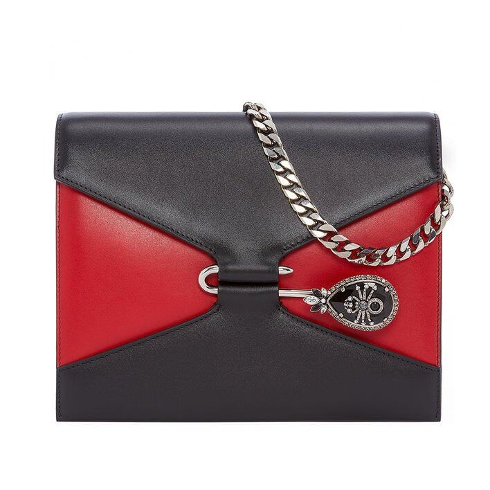Alexander McQueen 黑拼紅色 The Pin Bag