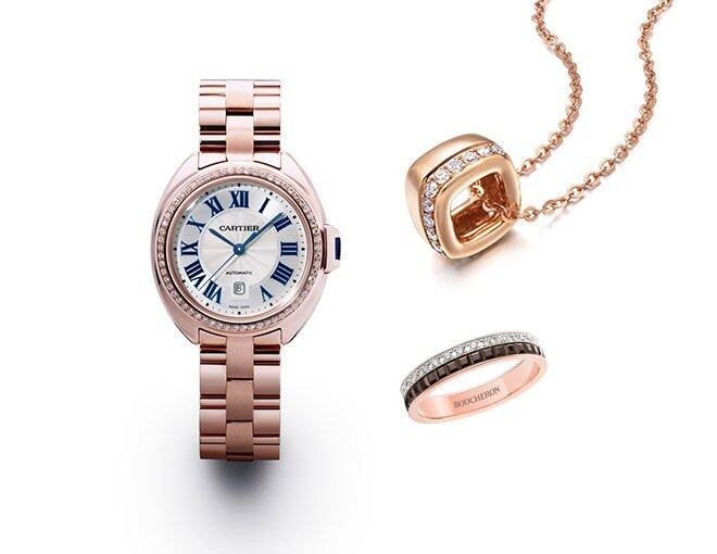 <p> Cartier Clé de Cartier Watch, 31 mm, 18K Pink Gold Set with Brilliant-cut Diamonds<br /> Emphasis Jewellery Daily Luxe 18K Rose Gold Square Pendant with Diamond<br />Boucheron Quatre Classique 18K Rose Gold Ring with Diamonds</p>