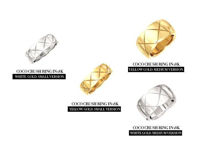 <p> &quot;Coco Crush&quot; ring in 18K yellow gold, small size. $15,800<br /> &quot;Coco Crush&quot; ring in 18K yellow gold, medium size. $22,000<br /> &quot;Coco Crush&quot; ring in 18K white gold, small size. $16,500<br />&quot;Coco Crush&quot; ring in 18K white gold, medium size. $22,800</p><p> </p>