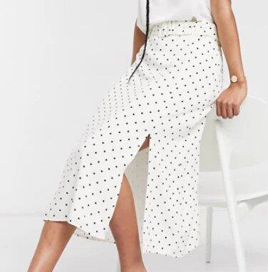 Warehouse polka dot belted midi skirt in white
