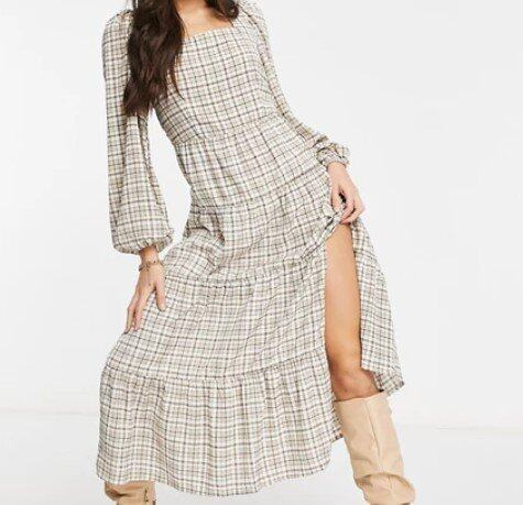 Missguided Tall maxi dress in brown check