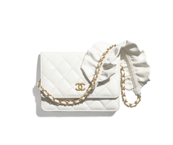 Chanel 白色綴 ruffles Wallet on chain 手袋 $18,300
