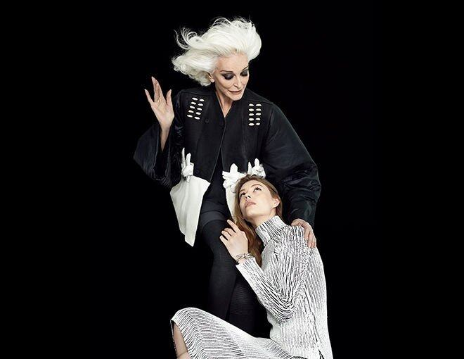<p>Carmen Dell'Orefice</p><p>Age 82-and a cover girl since her teens.</p><p>Rick Owens 外套,上衣及襪褲。</p><p> </p><p>Ondria Hardin</p><p>Age 16-and already modeling's most wanted.</p><p>Balenciaga 黑白條紋連身裙。</p>