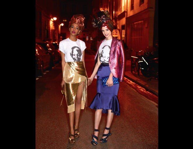 <p> The New Metallics<br />An idea for day: sensuous shiny separates.</p><p> Alewya Demmisse <br />Altuzarra 金色半截裙;Lanvin 恤衫(worn as turban);Prada 手提包;Chanel 高跟鞋。</p><p> Kate Goodling <br />Lanvin 金屬粉紅色西裝褸、半截裙及恤衫(worn as turban);Chanel 手提包;Prada 高跟鞋。</p>