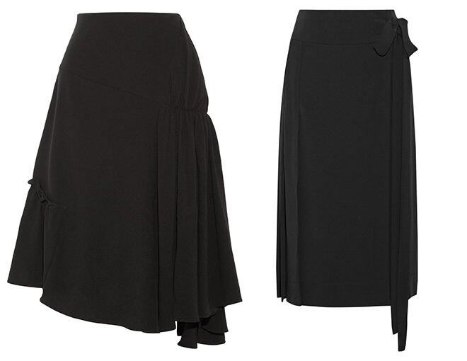 <p> Marni Pleated crepe wrap skirt $10,000<br />J.W.Anderson Asymmetric crepe midi skirt $3,955</p><p> </p>