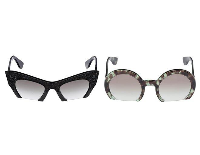<p>Left:Miu Miu A luxurious version of the &quot;Rasoir&quot; semi-rimless black cat-eyed acetate frame with crystal pavé embellishment and black rhinestones Metal lettering logo</p><p>Right:Miu Miu forest greem gradient lenses</p>