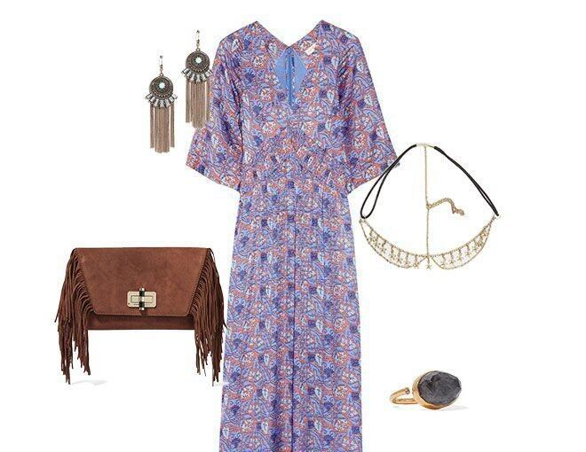 <p> <b>KEY Items</b><br /> Kaftan: TORY BURCH Corinne printed silk-blend maxi dress ($4,780, Net-A-Porter)<br /> Head piece: ASOS mini flower hair crown ($97, ASOS)<br /> Bag: Diane Von Furstenberg Suede fringe clutch ($1,925, Nordstorm)<br /> Ring: KATERINA MAKRIYIANNI Gold-plated, labradorite and zircon ring ($1,490, Net-A-Porter)<br />Earrings: Lulu's Sprit ritual gold and turquoise earrings ($104, Lulu's)</p><p> </p>