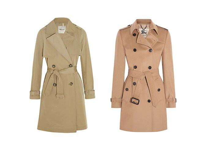 <p> Burberry London The Kensington Mid wool and cashmere-blend felt trench coat $18,500<br />Madewell Parcel cotton-blend gabardine trench coat $1,179</p><p> From net-a-porter.com<br /> </p>