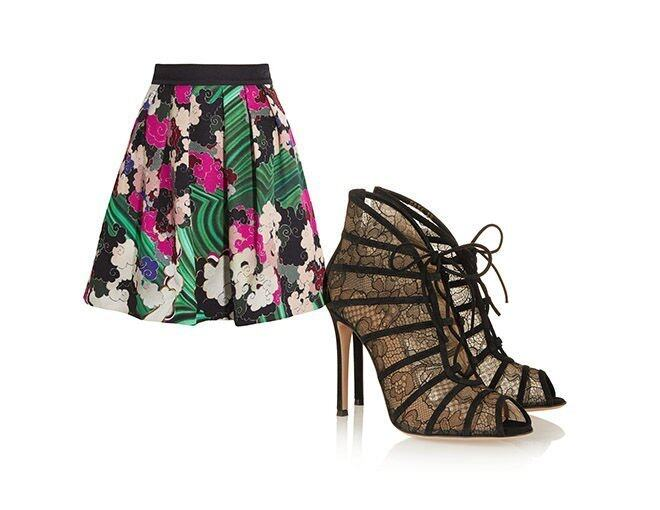 <p> Mary Katrantzou Algernon printed silk and cotton-blend mini skirt $7,205<br />Gianvito Rossi Suede-trimmed Chantilly lace boots $9,000</p><p>From net-a-porter.com​</p>