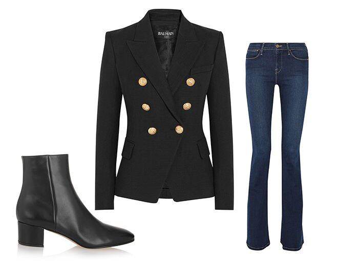 <p> Balmain Double-breasted basketweave cotton blazer $11,093<br /> Frame Le High Flare high-rise jeans $1,615<br /> Gianvito Rossi Leather ankle boots $7,200<br />(All from Net-a-Porter)</p>