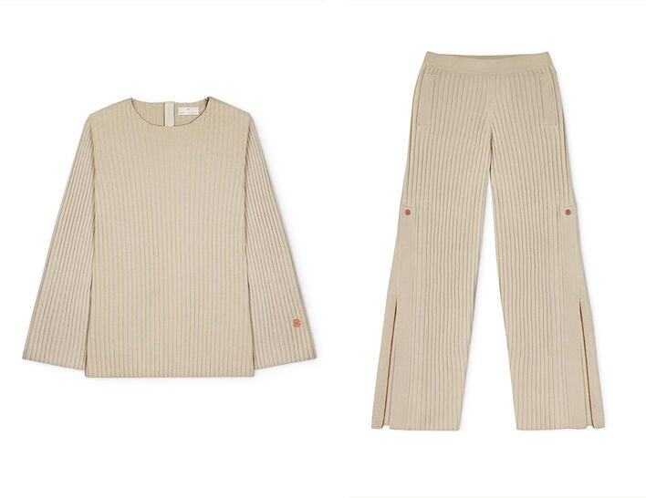 Movers & Cashmere Get Set Oversized Ribbed Cashmere Sweater Movers & CashmereWide-Leg Track Pants