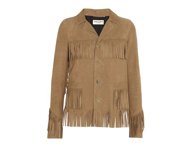<p> Saint Laurent<br />$30,070</p><p><a href='http://www.net-a-porter.com/product/457989/Saint_Laurent/curtis-fringed-suede-jacket' target='_self'>www.net-a-porter.com</a></p>