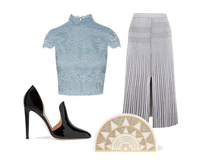 <p> Proenza Schouler Plated-knit midi skirt $9,480<br /> Alice Olivia Julia cropped lace top $2,090<br /> Gianvito Rossi Patent-leather pumps $6,000<br /> Charlotte Olympia Irona mirror-embellished glittered Perspex clutch $13,200<br />(All from Net-a-Porter)</p>