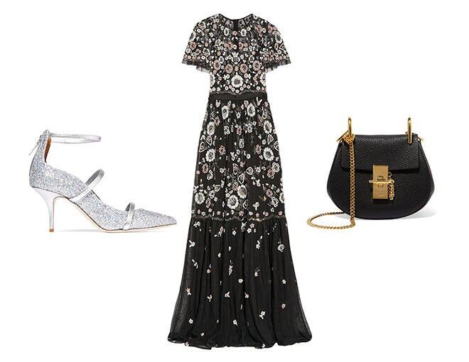 <p> Needle &amp; Thread Petal embellished tulle gown $3,665<br /> Chloé Drew nano textured-leather shoulder bag $9,190<br /> Malone Souliers Robyn glittered leather pumps $4,165<br />(All from Net-a-Porter)</p>