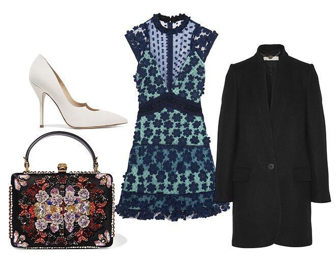 <p> Self-portrait Floral-appliquéd tulle and georgette mini dress $2,380<br /> Stella McCartney Bryce wool-blend coat $7,205<br /> Paul Andrew Zenadia suede pumps $4,800<br /> Alexander McQueen Embellished appliquéd canvas and satin clutch $21,794<br />(All from Net-a-Porter)</p>