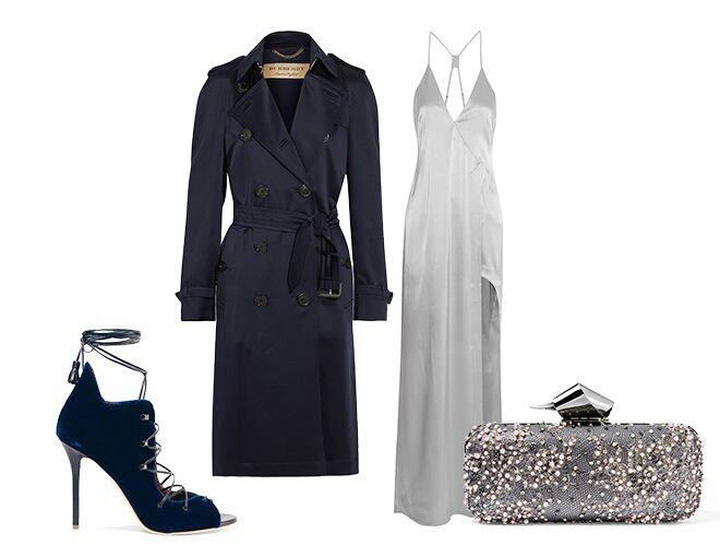 <p> Halston Heritage Asymmetric satin gown $4,857<br /> Burberry London Denverhil silk-satin trench coat $14,410<br /> Malone Souliers Savannah leather-trimmed velvet sandals $4,040<br /> Jimmy Choo Cloud embellished lace and gunmetal-tone clutch $21,300<br />(All from Net-a-Porter)</p>