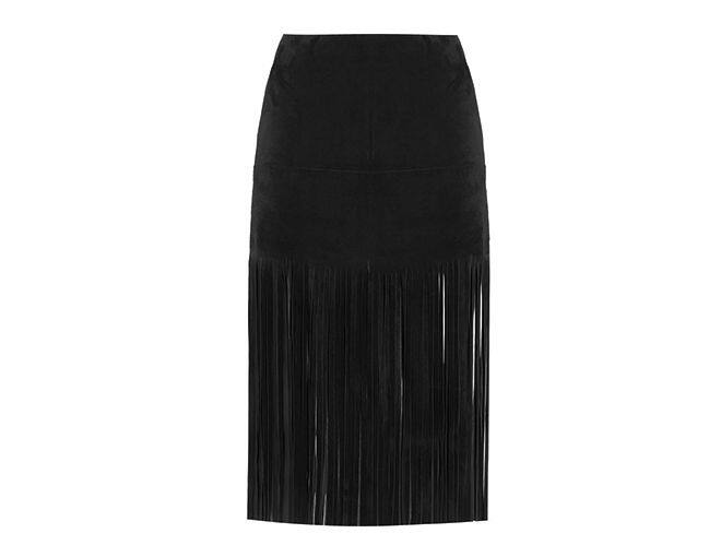 <p> Valentino 黑色麂皮半截裙。<br />$49,000</p><p><a href='http://www.net-a-porter.com/product/508515/Valentino/fringed-suede-mini-skirt' target='_self'>www.net-a-porter.com</a></p>
