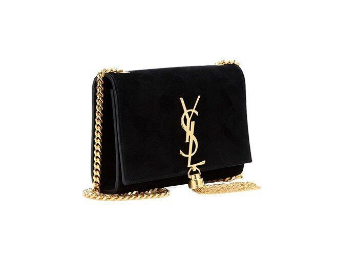 <p> Saint Laurent<br />US$1,890</p><p><a href='http://www.mytheresa.com/en-us/classic-small-monogramme-suede-shoulder-bag-370061.html' target='_self'>www.mytheresa.com</a></p>