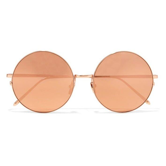 <p>Linda Farrow Round-frame Gold-plated Mirrored Sunglasses</p>