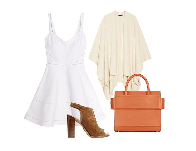 <p> Elizabeth And James Pecini pointelle-trimmed stretch-cady mini dress $3,325(From Net-A-Porter)<br /> Givenchy Camel Horizon Medium Bag $TBC<br /> Michael Kors Collection Maeve suede slingback sandals $3,225(From Net-A-Porter)<br />The Row Cappeto cashmere and silk-blend bouclé wrap $30,630(From Net-A-Porter)</p>