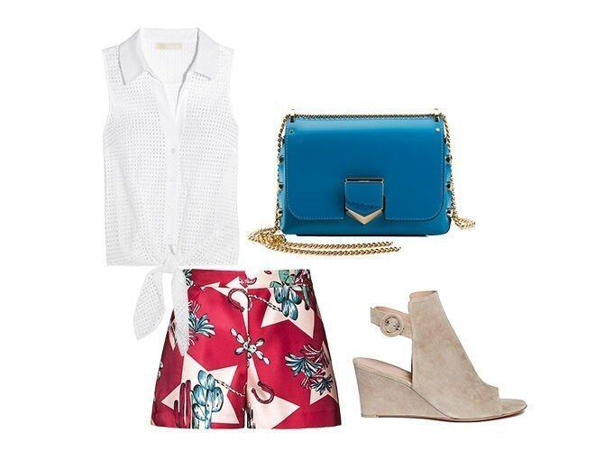 <p> Gianvito Rossi Suede Sandals in Beige $6400<br /> Jimmy Choo Petite Lockett Spazzolato Shoulder Bag $TBC<br /> MICHAEL Michael Kors Knotted broderie anglaise cotton top $1,060(From Net-A-Porter)<br />M Missoni Floral Shorts $TBC</p>