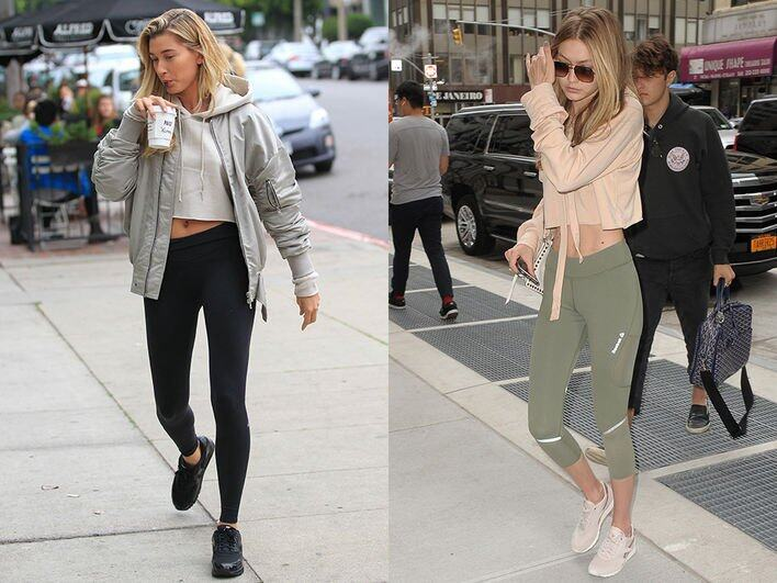 5. 短款衛衣盡顯長腿Crop top 款式連帽衛衣配搭高腰 leggings 是 Hailey Baldwin 和 Gigi Hadid 最愛