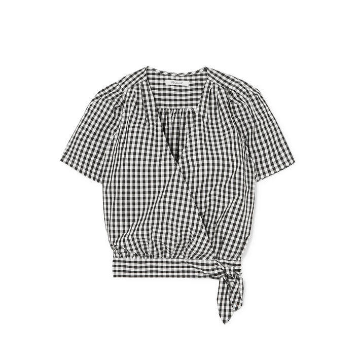 Madewell Gingham cotton-poplin wrap top $725