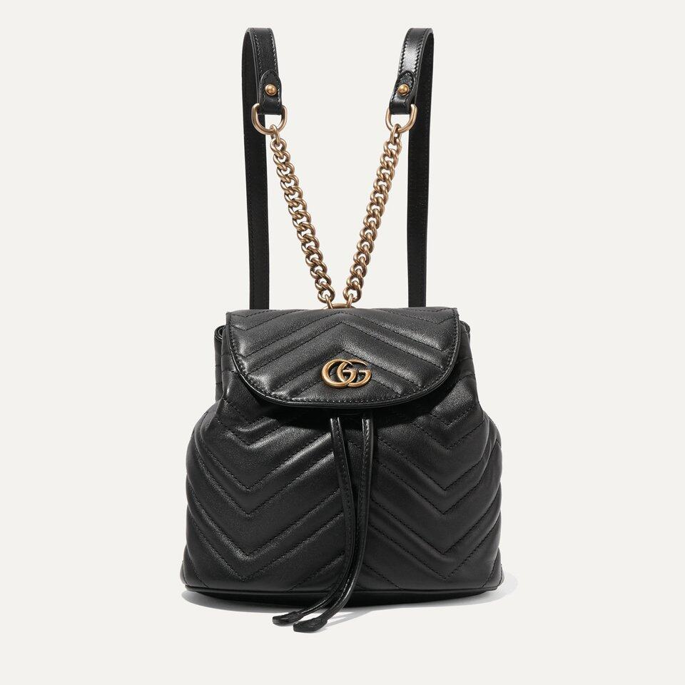 Gucci GG Marmont 黑色皮背囊