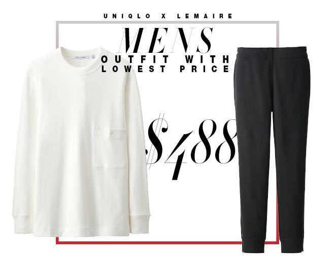 <p>男士最便宜組合 Mens Outfit with the Lowest Price </p><p> Uniqlo and Lemaire 長褲 $249<br /> Uniqlo and Lemaire 柔軟圓領長袖 T 恤 $199<br />Total $448</p>