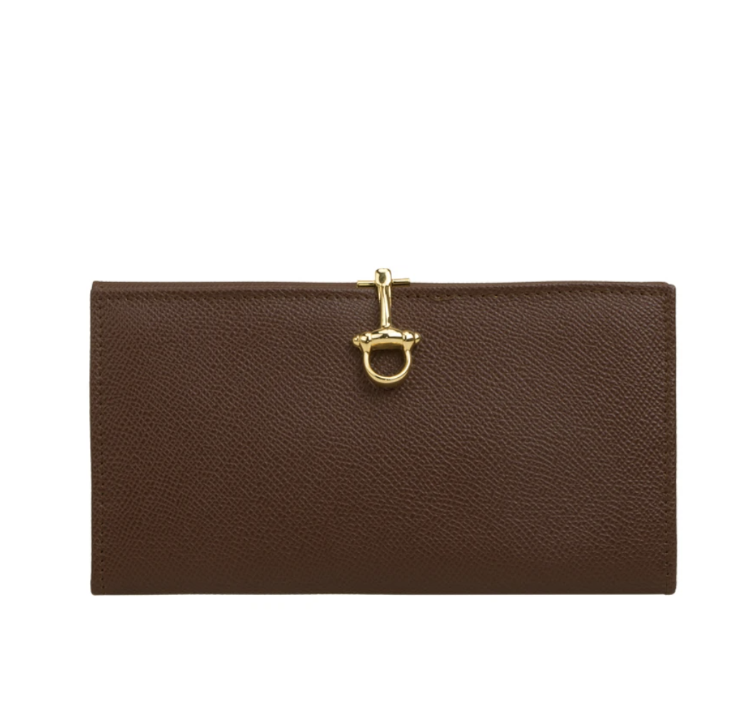 SAMANTHA Made By CELLERINI $1,691 Elk-embossed Calfskin Leather Dark Brown Wallet