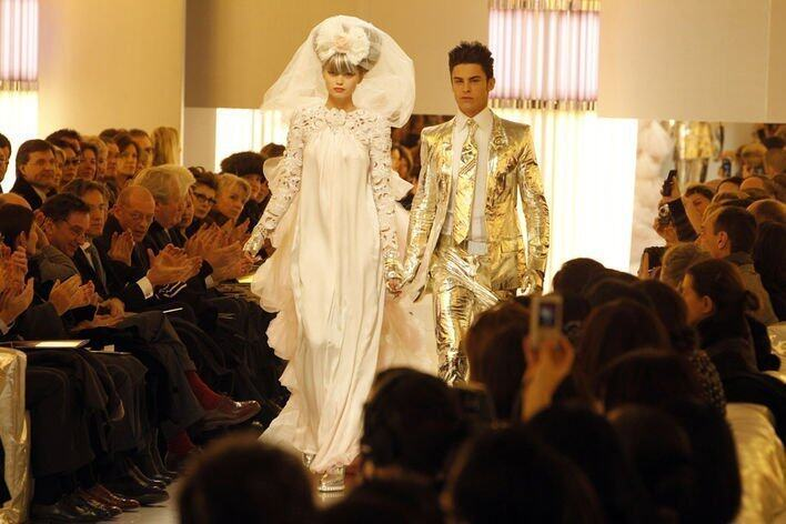 <p>S/S 2010 Abbey Lee Kershaw and Baptiste Giabiconi</p>