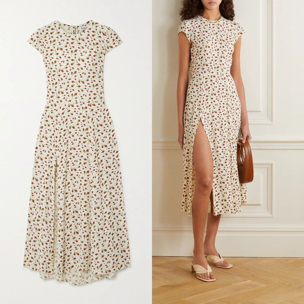 REFORMATION Gavin cutout floral-print crepe midi dress