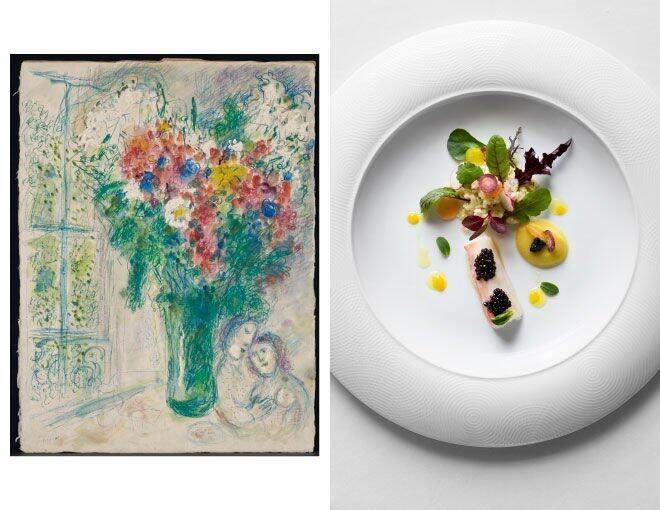 <p>8½ Otto e Mezzo BOMBANA x Marc Chagall(Opera Gallery)</p><p>這一道 King Crab and Calvisius Elite Caviar, Couscous and Vegetable Salad, Citrus and Fennel Dressing 的靈感來自於畫作中鮮艷與繽紛的色彩,將食材尤如一束花的鋪在碟上,極具詩意。</p><p> <em>Marc Chagall Les fleurs devant la fenêtre à Paris 1976 Watercolour, gouache, pastel and coloured wax crayon 68.1cm x 51.4cm © Courtesy Opera Gallery</em><br /><em>Photo Courtesy of © Andrew Loiterton</em></p>