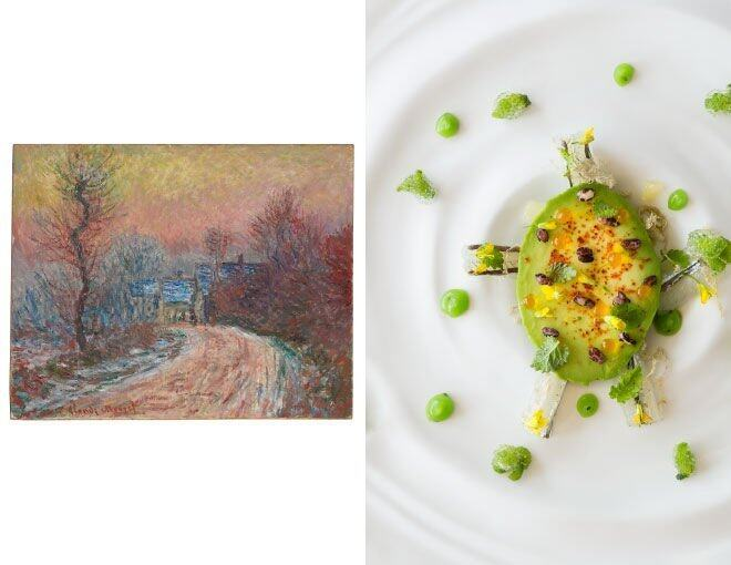 <p>Amber x Claude Monet(Christie's)</p><p>菜名是 Sayori Fish served raw with Sansho, Kiwi &amp; Hass Avocado Ficoide Glaciale &amp; Puffed Crispy Red Camarque Rice,靈感來自於莫奈的畫作。那些山椒燈與灑在牛油果上的紅色脆米,有令你想起莫奈的筆觸嗎?那印象派的朦朧美。</p><p> <em>Claude Monet Entrée de Giverny en hiver, soleil couchant 1885 Oil on canvas 65.5cm x 76cm © CHRISTIE'S IMAGES LTD. 2015</em><br /><em>Photo Courtesy of © Andrew Loiterton</em></p>