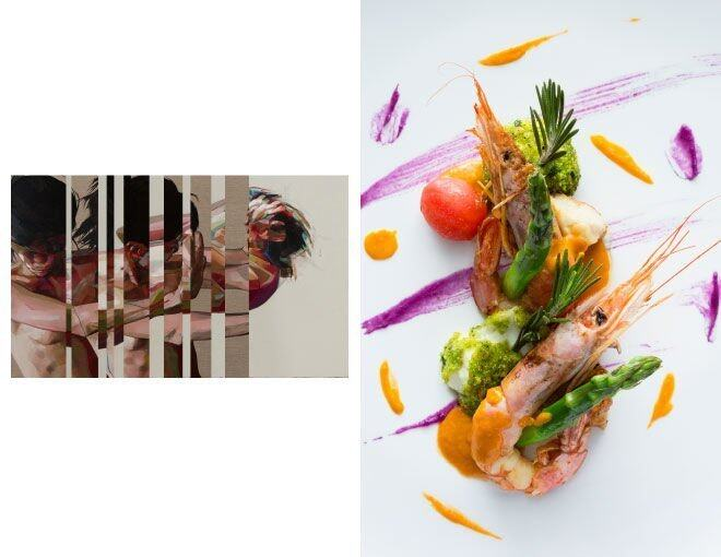 <p>ARMANI/AQUA x Simon Birch(Ben Brown Fine Arts)</p><p>菜名是 Pan Fried Prawn and Veal Sweetbreads with Asparagus, Fresh Tomato and Bocconcini Pinenut Mozzarella。以食物作媒介,表達出畫作中濃烈的情感,多彩的食物與藝術品也各有互通之處。</p><p> <em>Simon Birch The Cutter 2014 Oil on canvas 205cm x 320cm © Courtesy of Ben Brown Fine Arts</em><br /><em>Photo Courtesy of © Andrew Loiterton</em></p><p> </p>
