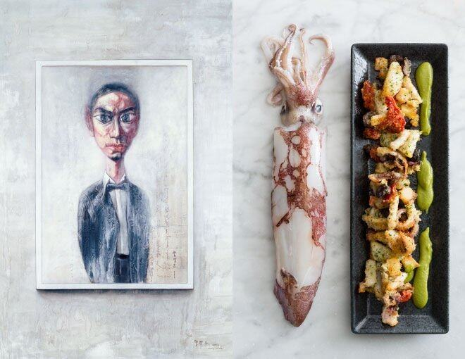 <p>CIAK – In The Kitchen x Zeng Fanzhi(Private Collection)</p><p>菜名是 Oven - Baked Calamari,為了配合畫作中自然與白色的色調,使用了魷魚作主要食材,再以其條配料去表逹畫中的複雜顏色元素。</p><p> <em>Zeng Fanzhi Untitled 2002 Oil on canvas 235cm x 165cm © Courtesy Zeng Fanzhi Studio</em><br /><em>Photo Courtesy of © Andrew Loiterton</em></p>